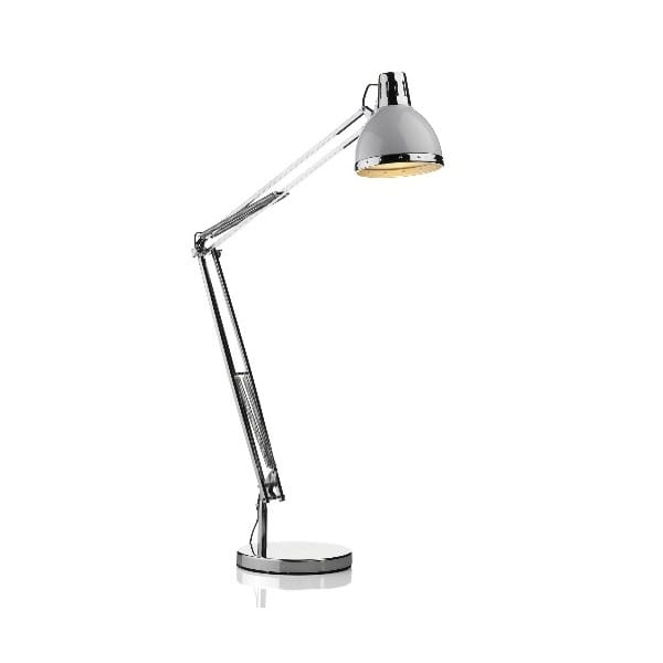 Adjustable Angled Arm Chrome And White Floor Reading Lamp