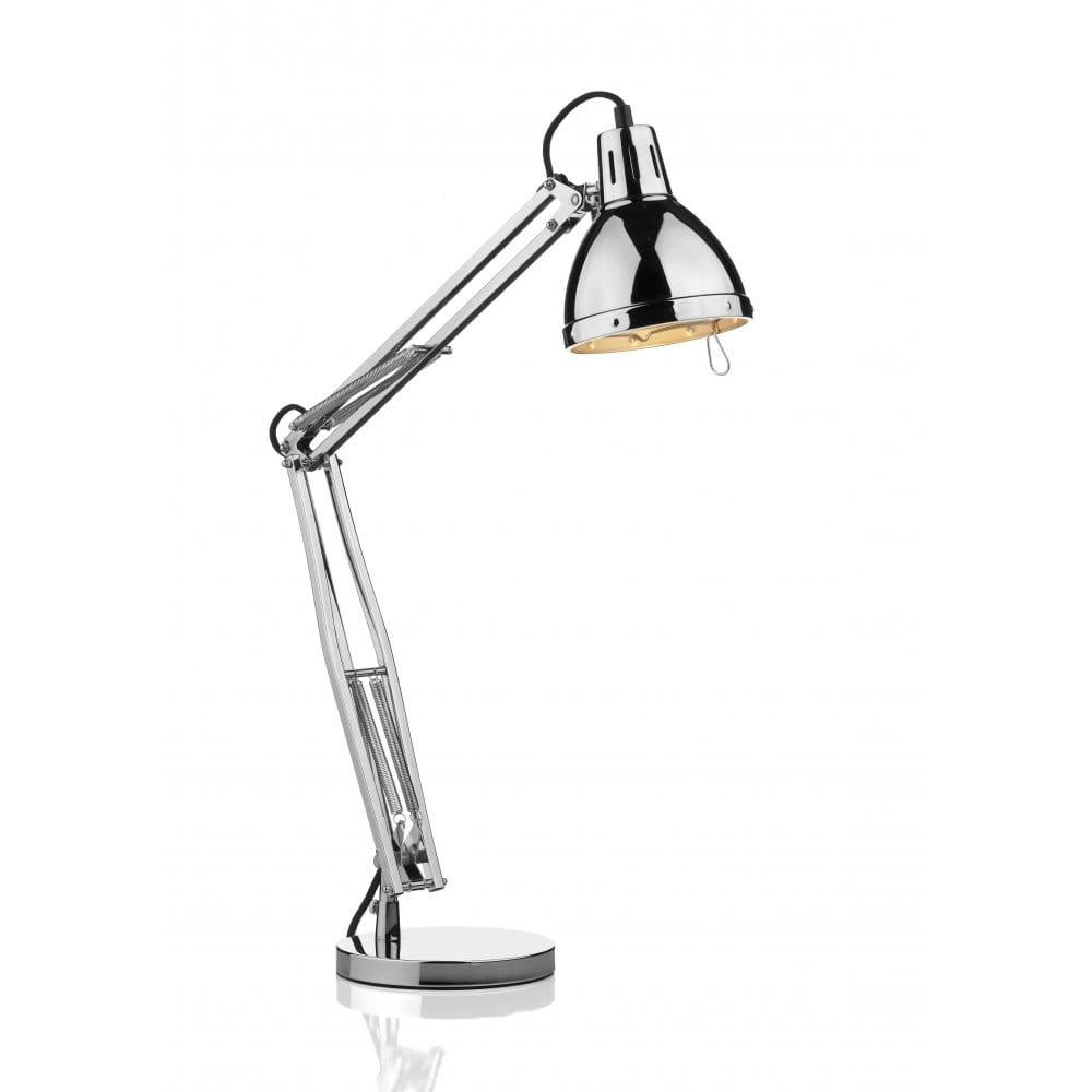 Chrome Angled Desk Lamp, Fully Adjustable Reading Or Study