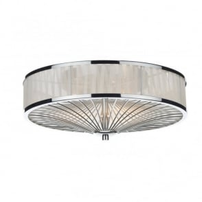The Lighting Book OSLO polished chrome & ivory silk pleated border