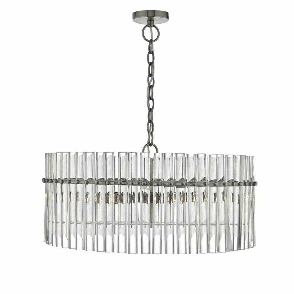 OVATION 5 light antique chrome pendant with glass rod ...