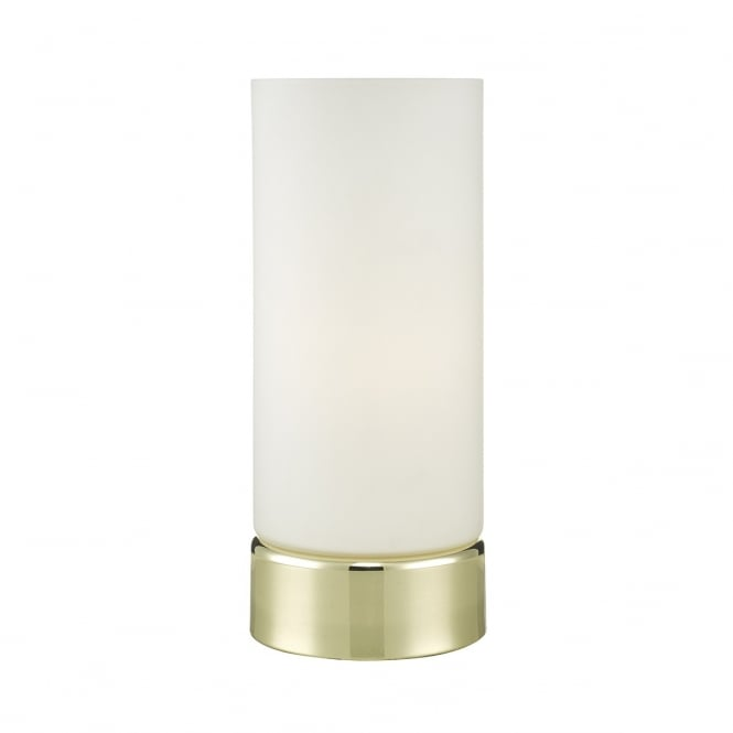 OWEN polished brass touch lamp with opal glass shade