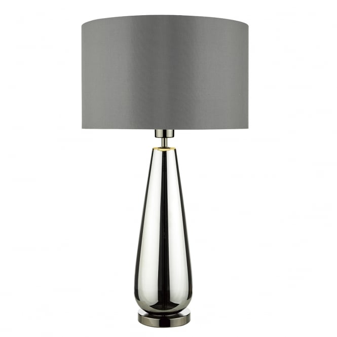 PABLO contemporary black chrome glass table lamp with shade