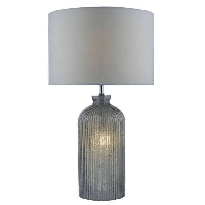 The Lighting Book PAMPLONA dual source grey glass table lamp with shade
