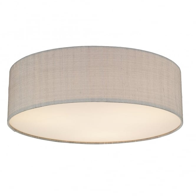 The Lighting Book PAOLO flush low energy silk ceiling light (small, silver grey)