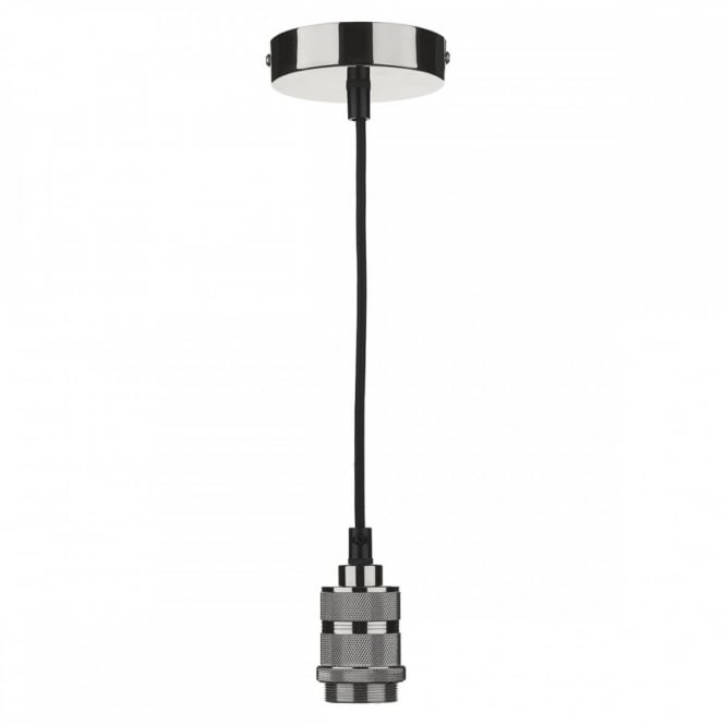 The Lighting Book PENDANT SUSPENSION in gun metal finish with black braided cable (E27/ES)