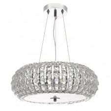 modern chrome and crystal ceiling pendant