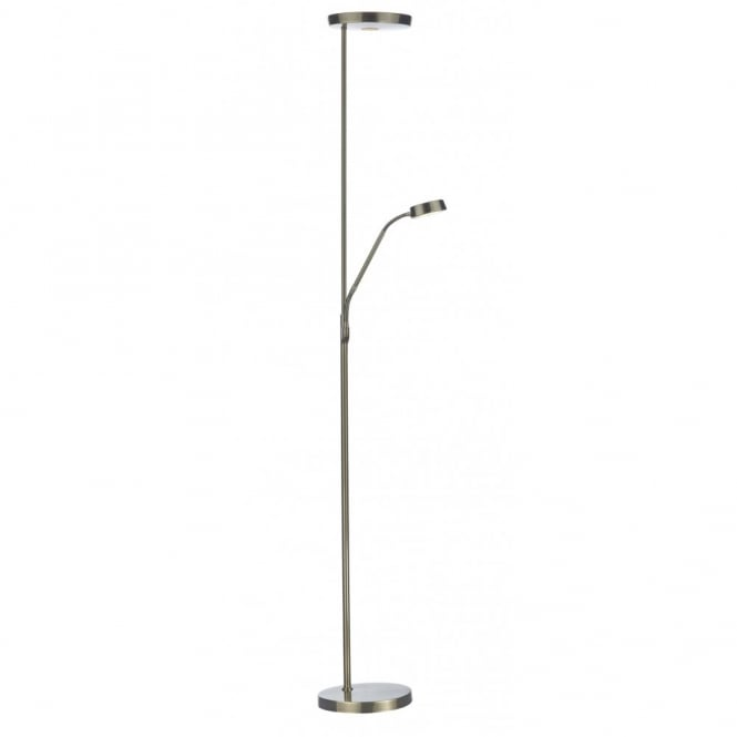 The Lighting Book PIONEER modern antique brass LED floor lamp with reading arm
