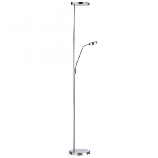 PIONEER modern satin chrome LED floor lamp with reading arm