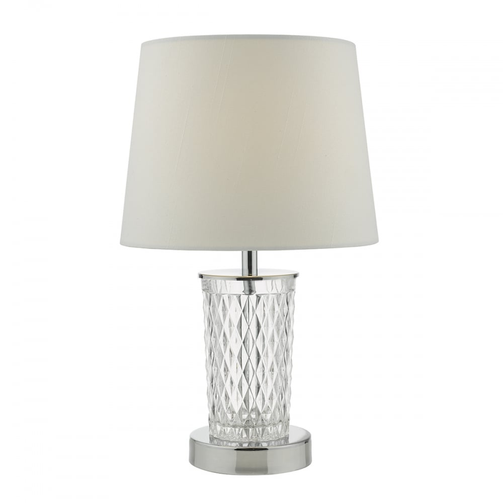 Clear Glass And Chrome Touch Lamp With Shade