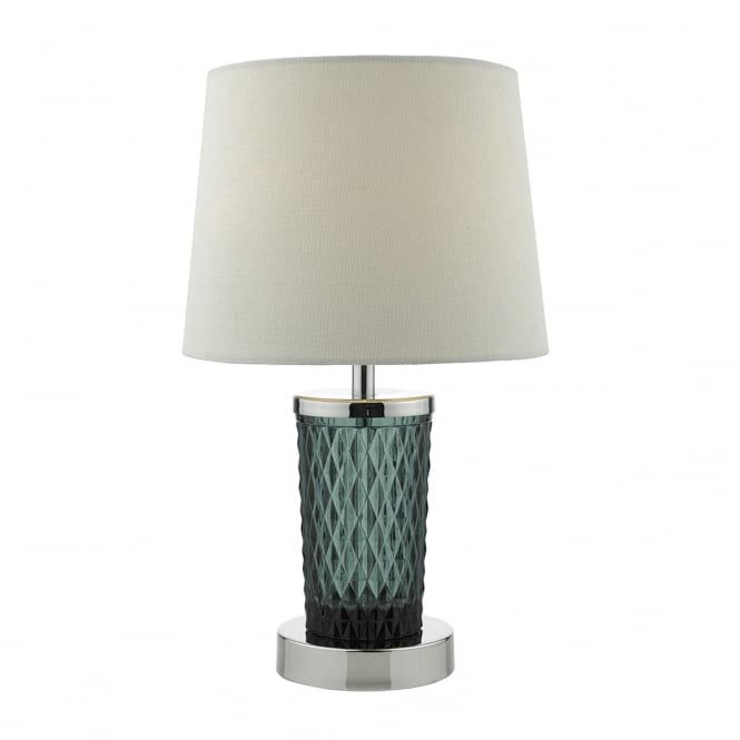 PIXIE decorative chrome and teal glass touch lamp