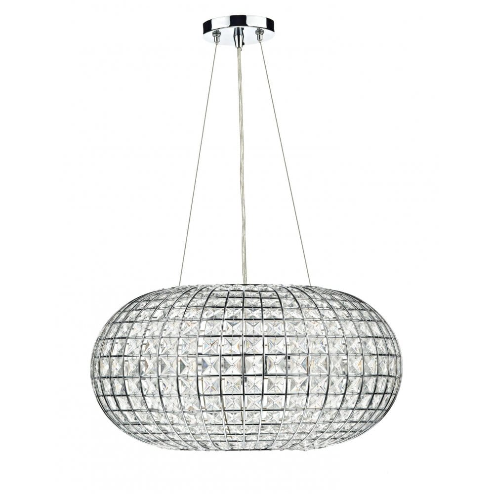 Modern Chandelier Pendant Light Circular Chrome Frame