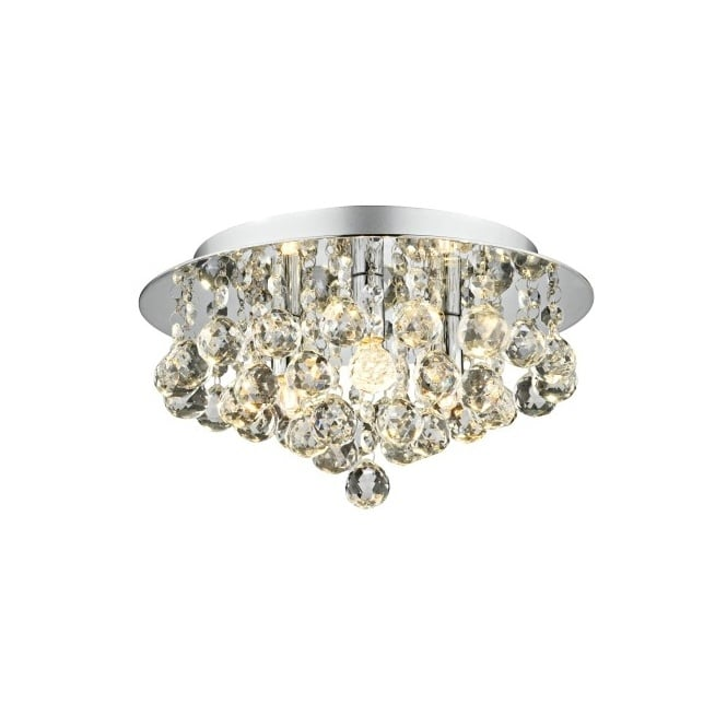 The Lighting Book PLUTO chrome crystal chandelier for low ceilings