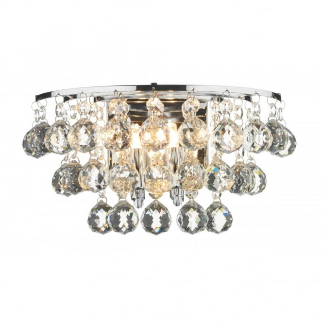 The Lighting Book PLUTO chrome crystal double insulated wall light