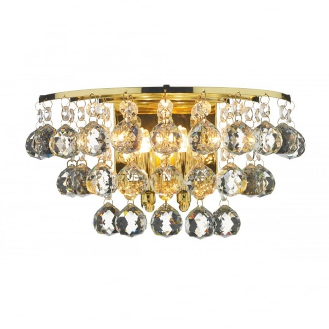 The Lighting Book PLUTO double insulated gold brass crystal wall light