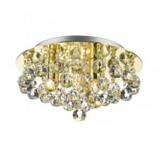 PLUTO gold brass low ceiling crystal chandelier