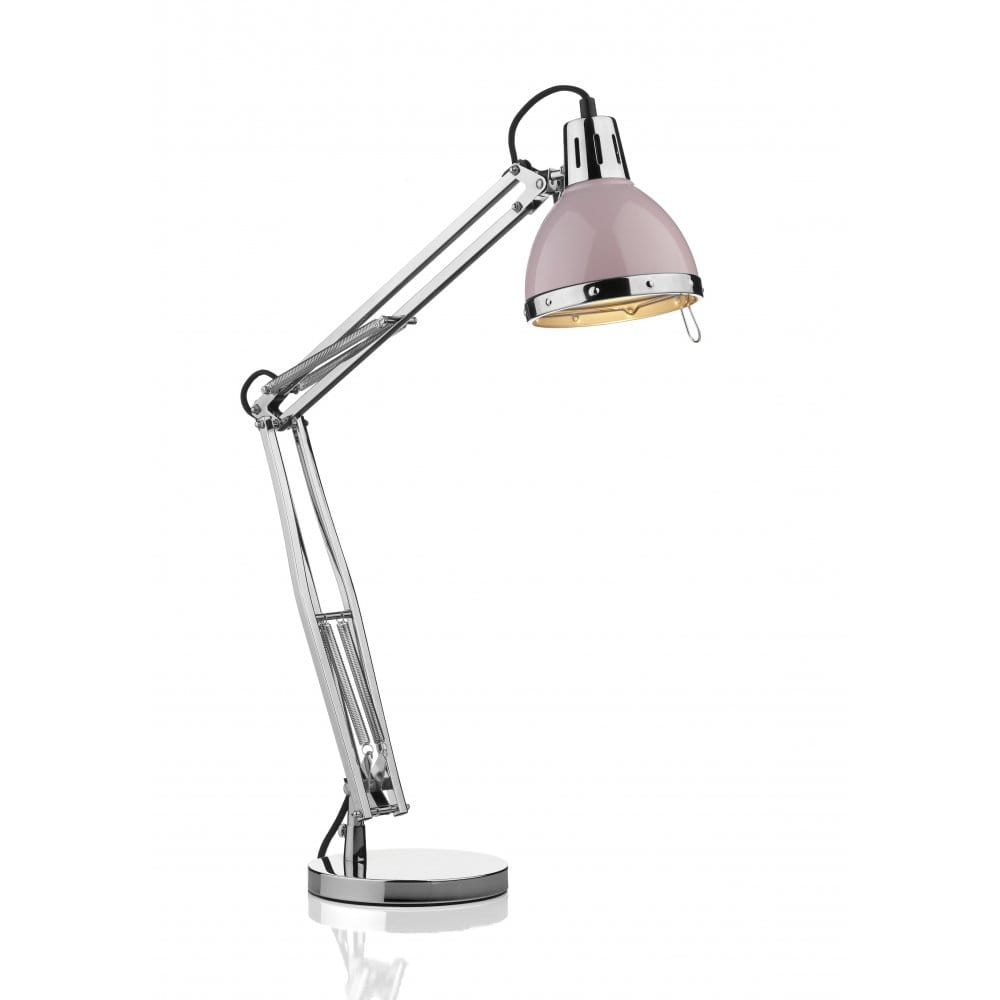 Anglepoise style table lamp chrome with pink head retro for Retro floor reading lamp
