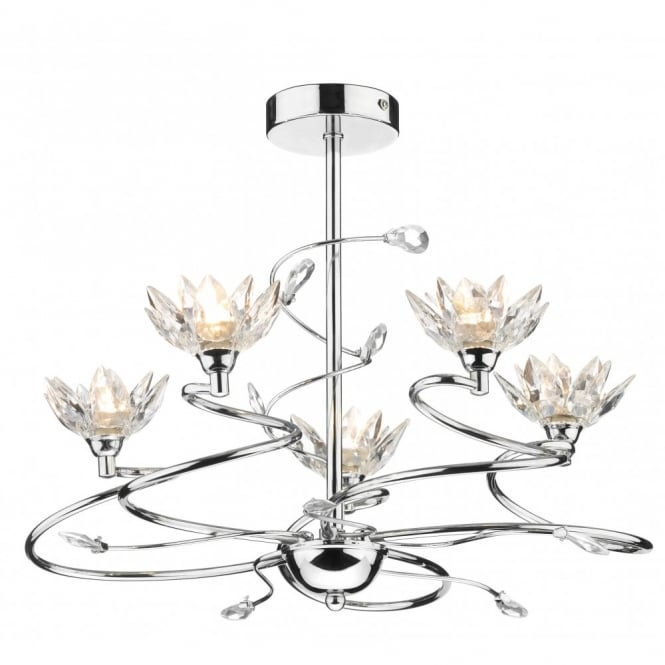 contemporary chrome ceiling light with pretty floral