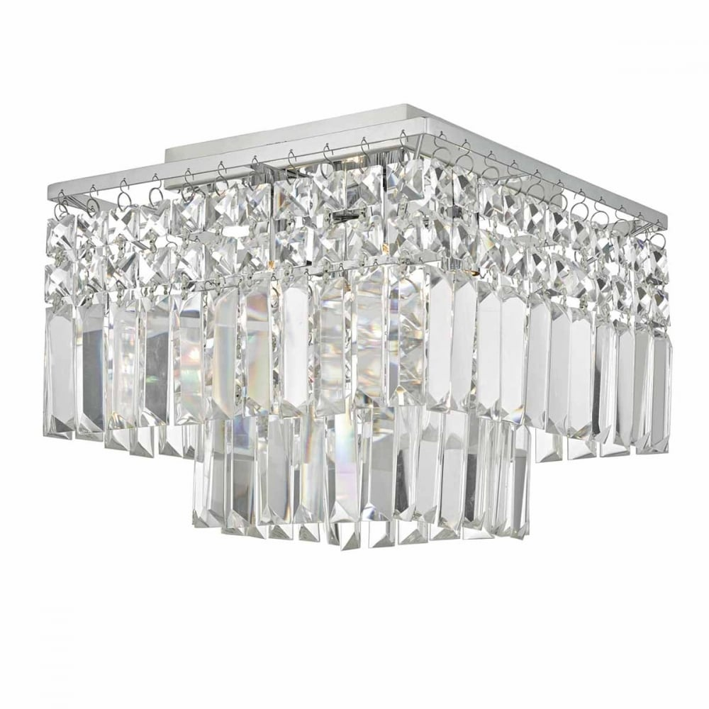 Decorative Flush Fit Chrome and Crystal Ceiling Light