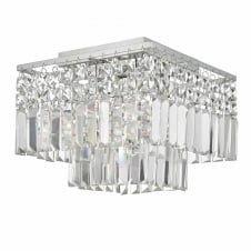 chrome and crystal flush fit ceiling light