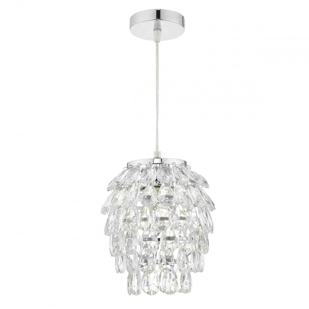 Decorative Polished Chrome And Clear Acrylic Easy Fit Pendant Shade