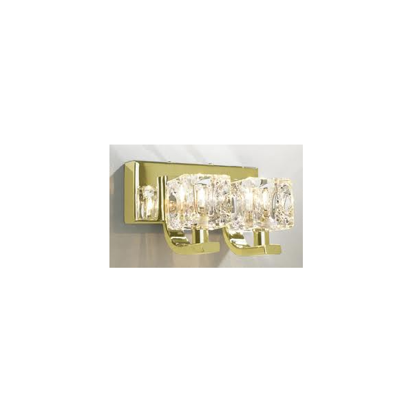 Glass Cube Wall Lights : Double Insulated Gold Wall Light with Chunky Glass Cube Shades
