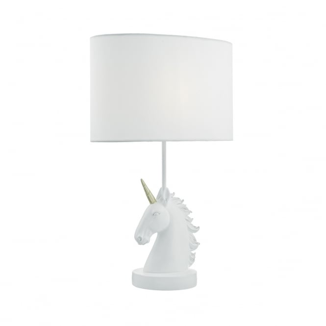 QUILIN white unicorn table lamp with white shade