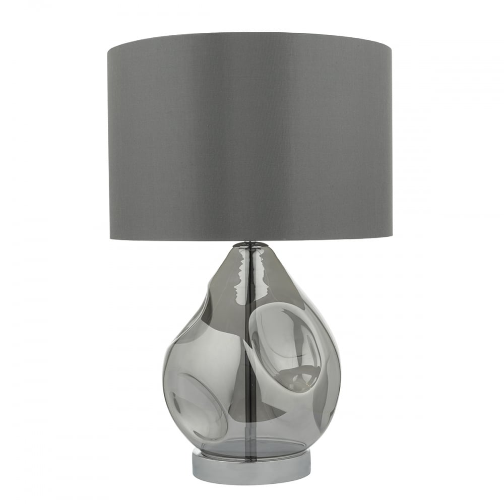 lighting book quinn blown smoked glass table lamp with faux silk shade. Black Bedroom Furniture Sets. Home Design Ideas