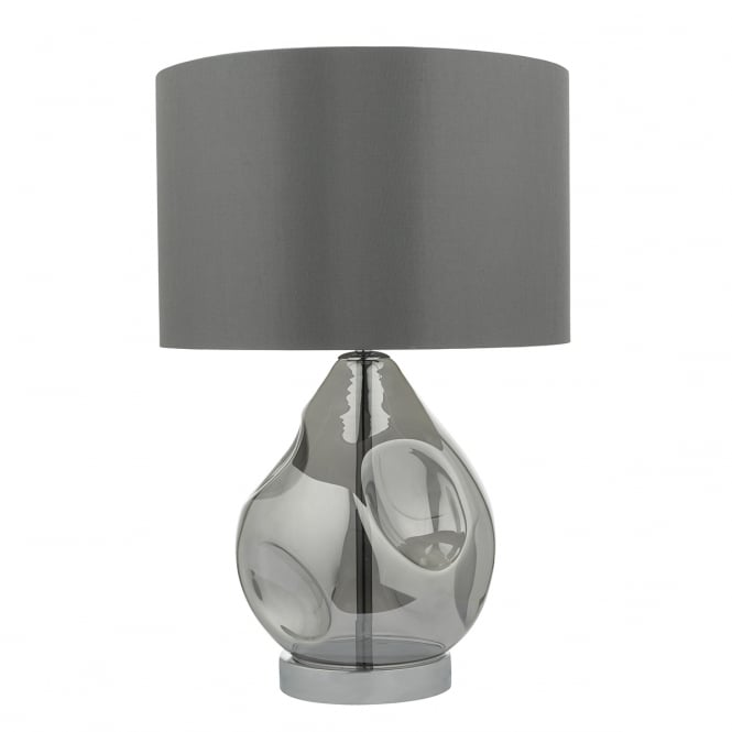 QUINN blown smoked glass table lamp with faux silk shade