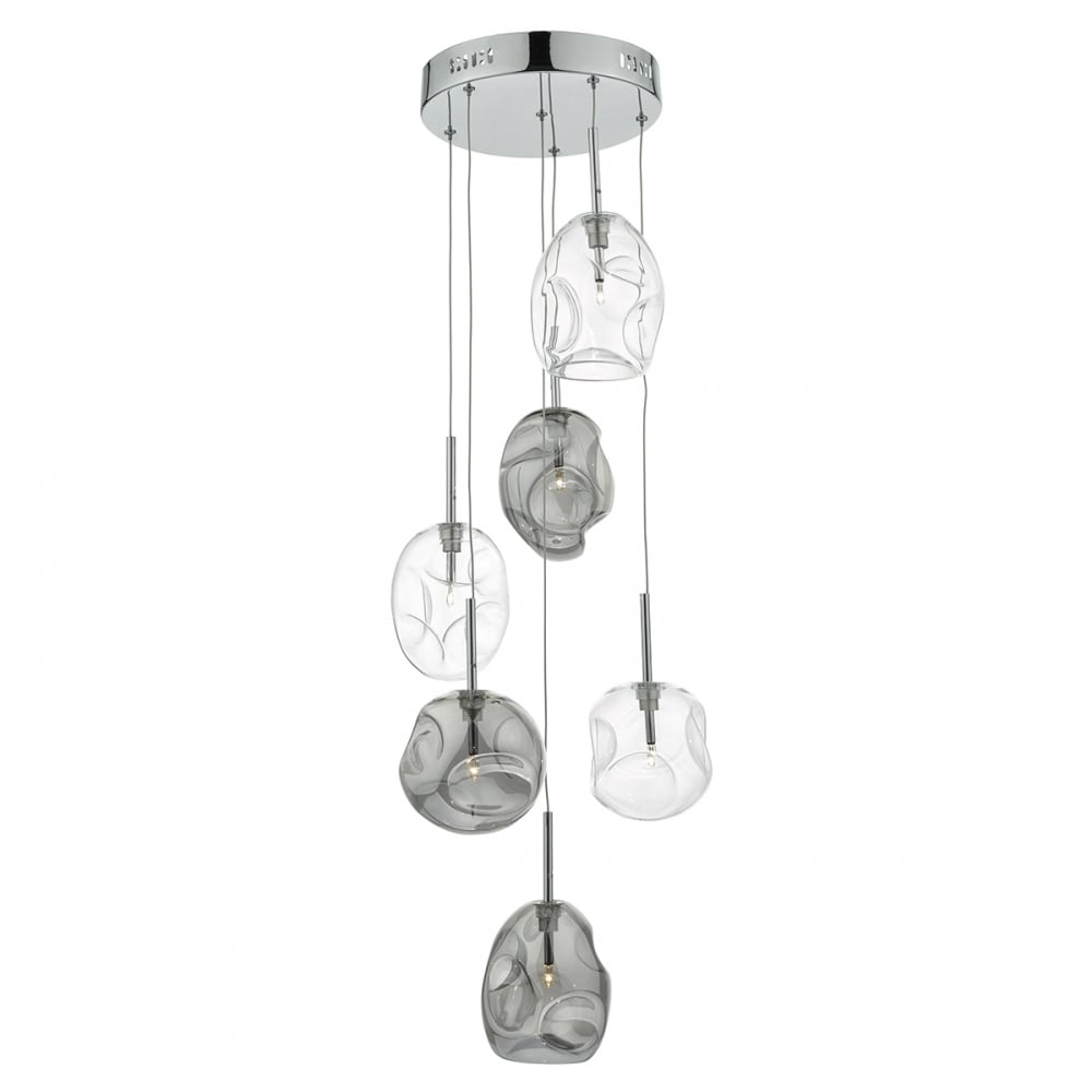 Decorative 6 Light Cer Pendant In Smokey And Clear Glass
