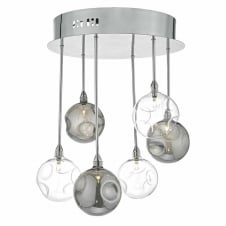 QUINN modern 6 light cluster in chrome with smoked glass globe shades
