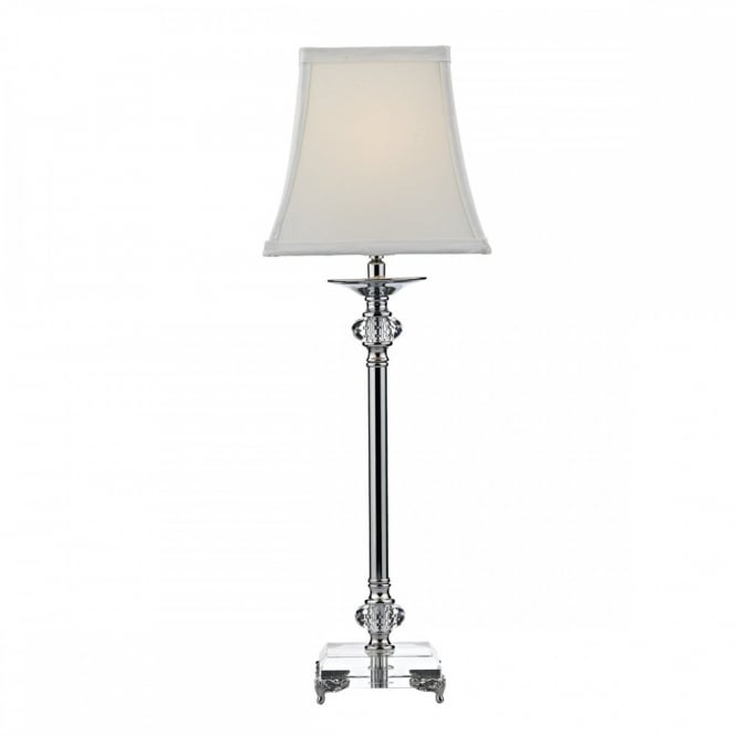 The Lighting Book RAJ decorative polished nickel and crystal glass table lamp with ivory shade