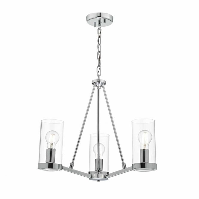 RAMIRO 3 light polished chrome and glass ceiling pendant