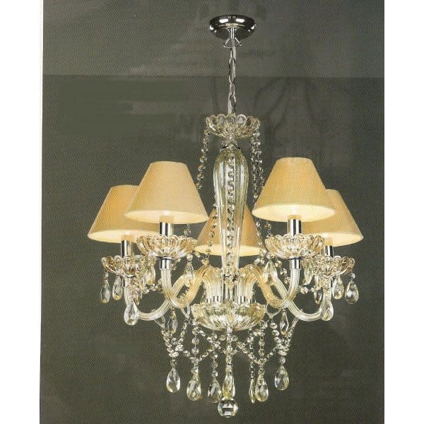 Chandelier Champagne Gold Glass With Droplets Pale Gold