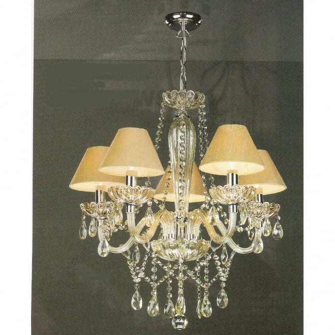 RAPHAEL chandelier, champagne glass with gold silk shades