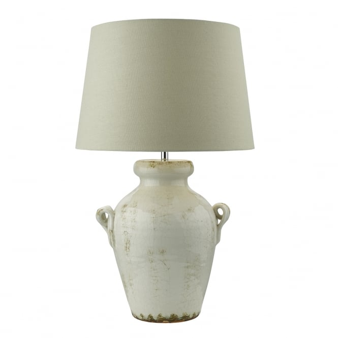 RAVENNA urn shaped table lamp in antique cream with shade