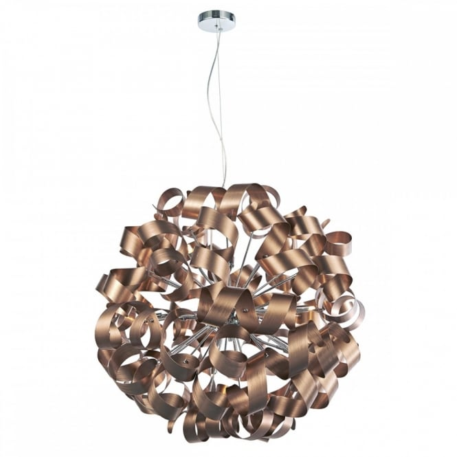 The Lighting Book RAWLEY 12 light contemporary ribbon pendant in satin copper
