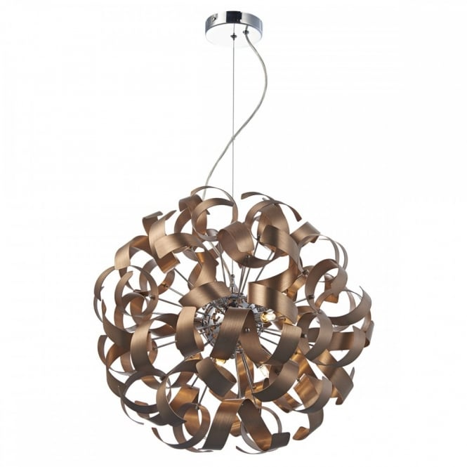 Modern 9lt copper ribbon ceiling pendant great high ceiling light rawley 9 light contemporary ribbon pendant in satin copper aloadofball Gallery