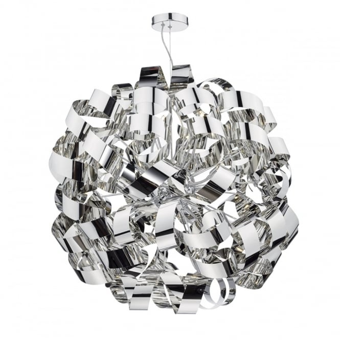 RAWLEY decorative ribbon design 12 light ceiling pendant in polished chrome