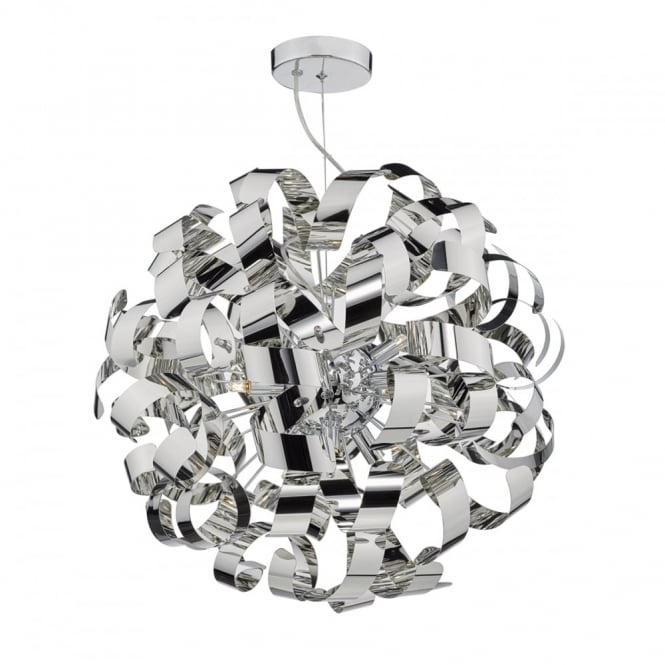The Lighting Book RAWLEY decorative ribbon design 9 light ceiling pendant in polished chrome