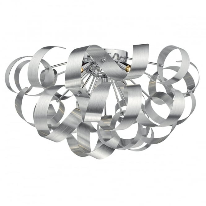 RAWLEY modern 5 light brushed aluminium flush ceiling light