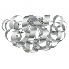 modern flush ceiling light in brushed aluminium