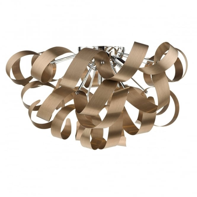 RAWLEY modern 5 light brushed copper flush ceiling light