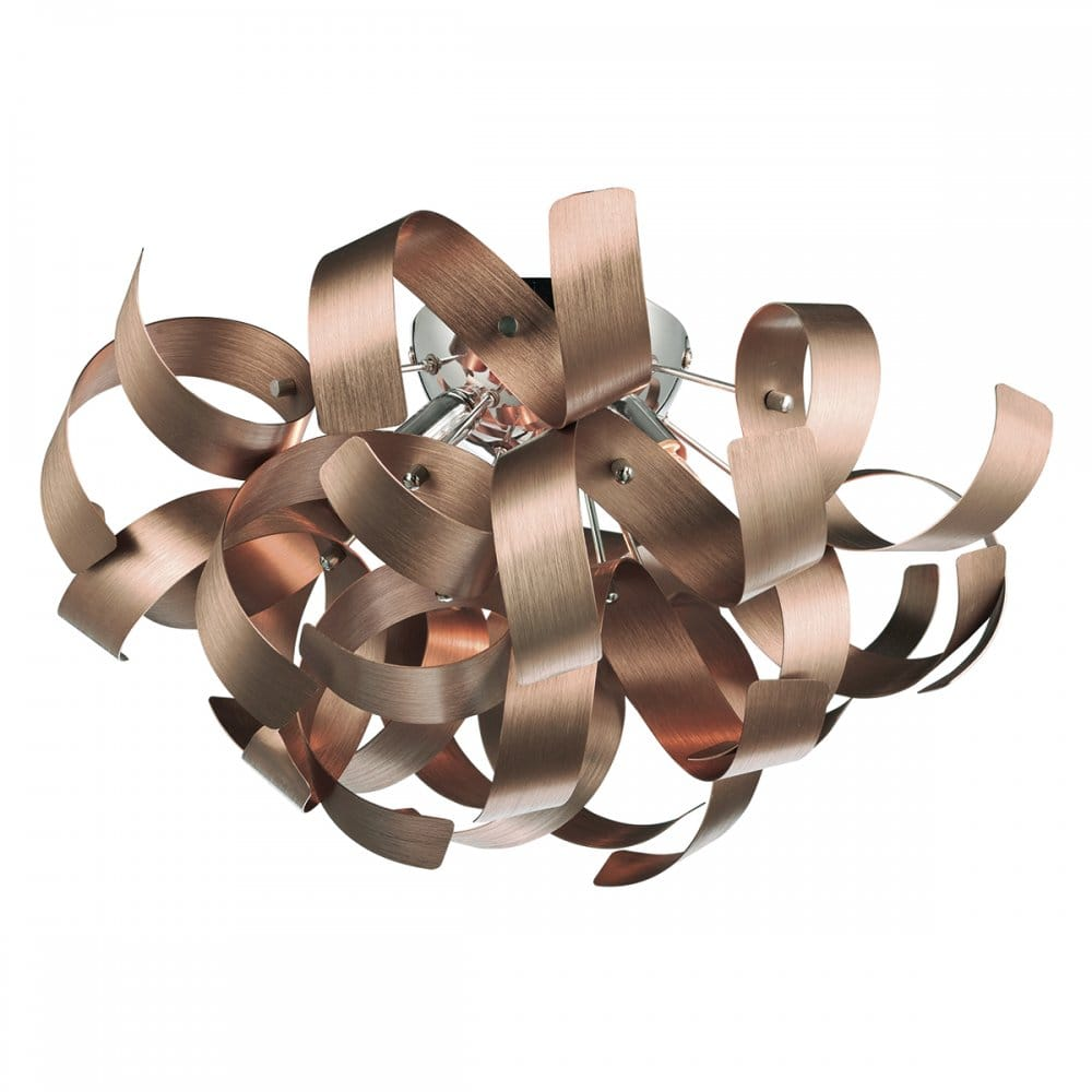 Decorative Modern Flush Ceiling Light With Copper Ribbon