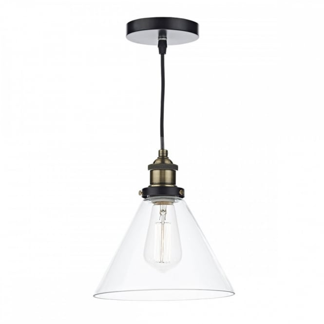 The Lighting Book RAY vintage antique brass single ceiling pendant with clear tapered glass shade