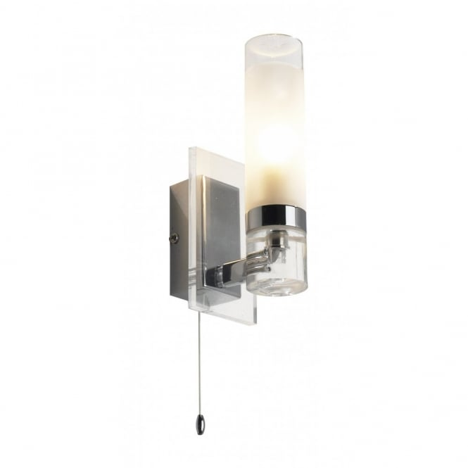 REFLEX chrome glass switched bathroom wall light IP44