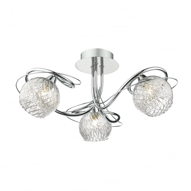 The Lighting Book REHAN decorative 3 light semi flush ceiling light with glass shades