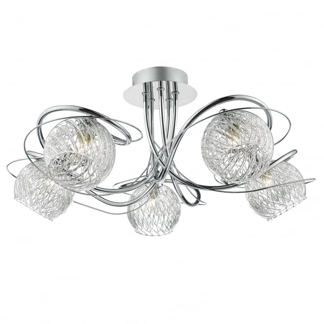 The Lighting Book REHAN decorative 5 light semi flush ceiling light with glass shades