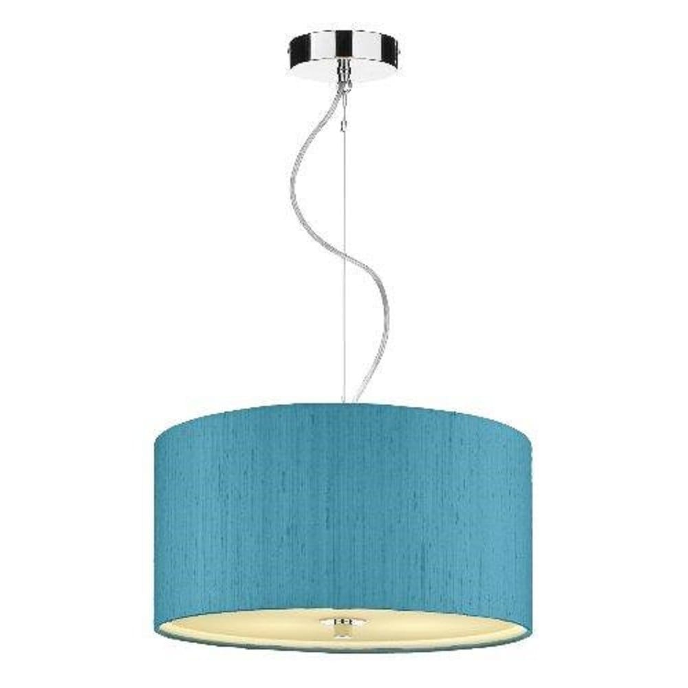Renoir blue silk ceiling pendant light shade for Pendant lighting for high ceilings