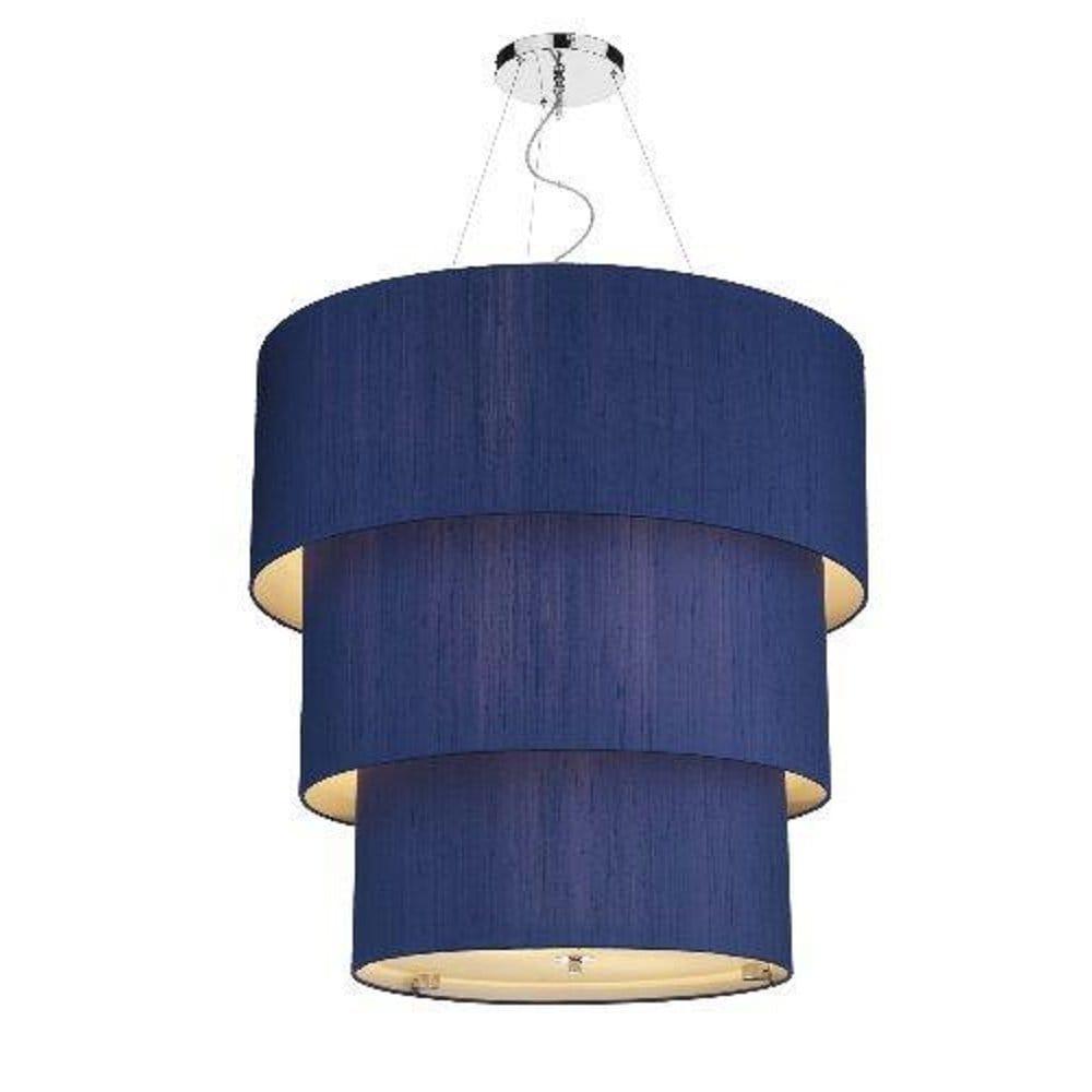 the lighting book renoir large 3 tier marine blue silk pendant light shade p2251