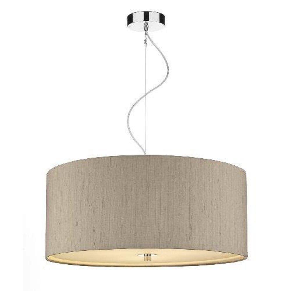 Large drum shaped ceiling pendant with taupe silk shade for Pendant lighting for high ceilings